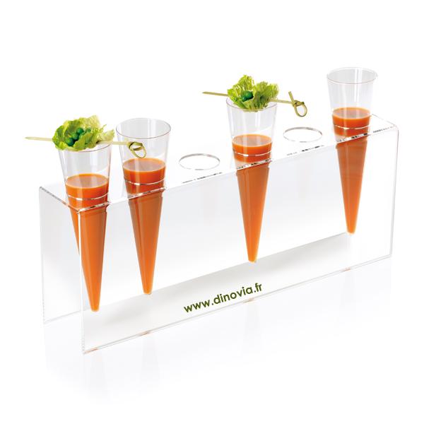 Expoglass pour tenir et poser les flutes plastiques jetable conik