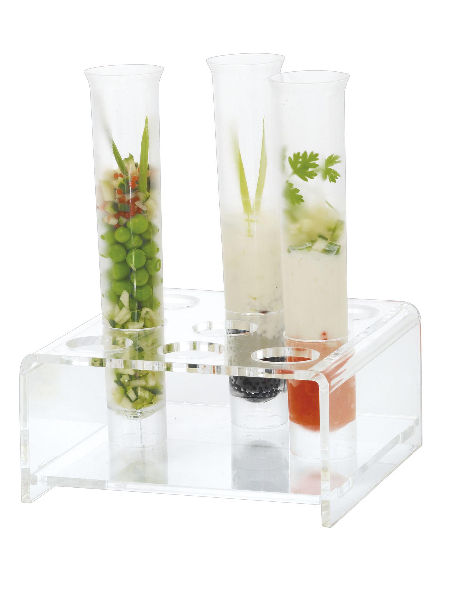 un tube transparent pour servir le cocktail et les mises en bouche
