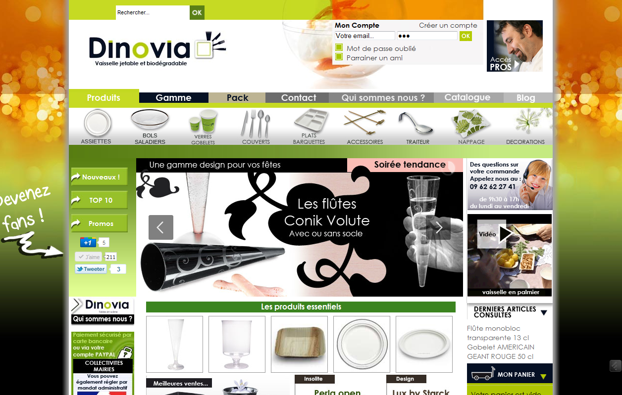 Dinovia change et fait évoluer le design de son site E commerce