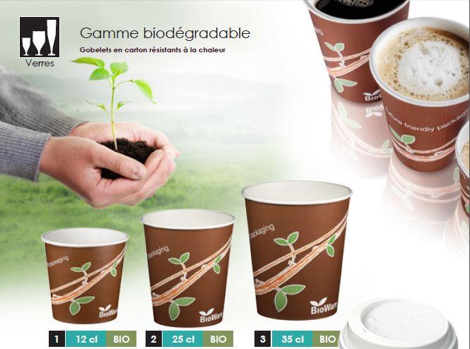 Gamme de gobelets carton ecologique, biodégradable et compostable