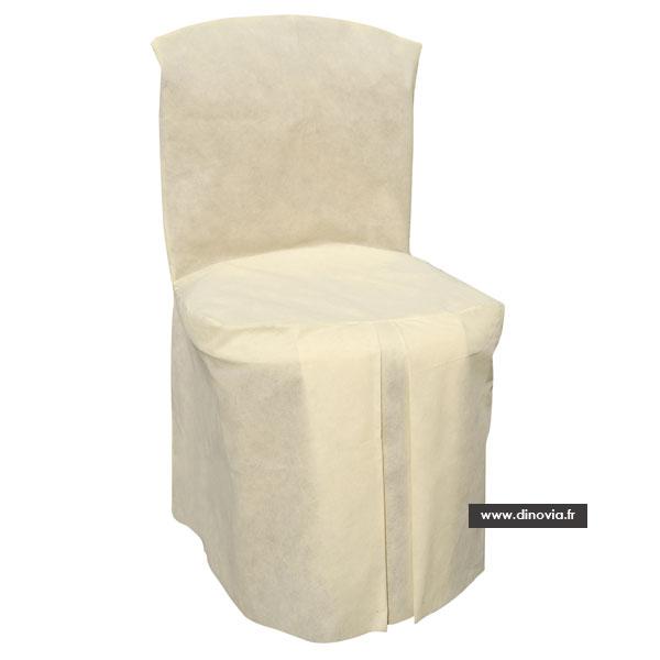 Decoration housse de chaise vaisselle jetable et for Housse de chaise ecru