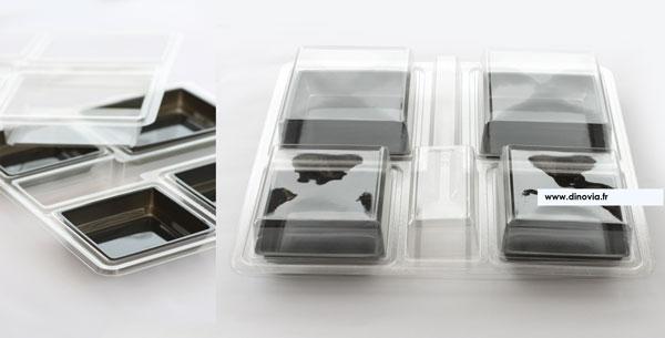 Un socle et un couvercle cristal pour un plateau traiteur