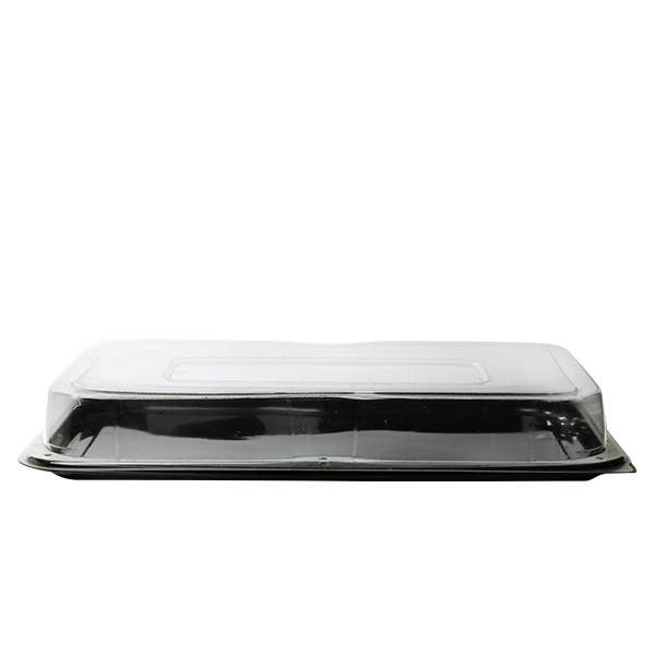 Combo plateau rectangle 55x37 cm noir + couvercle transparent
