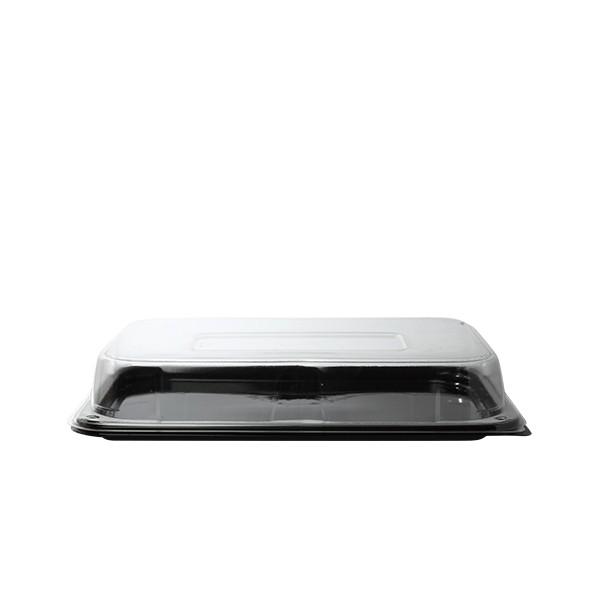 Combo plateau rectangle noir 46x30 cm + couvercle transparent