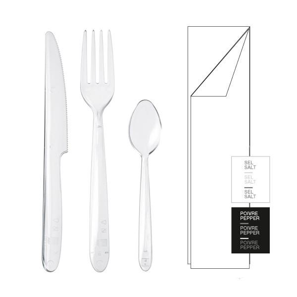 Kit couverts 6/1 LUX cristal couteau fourchette cuillère serviette sel poivre