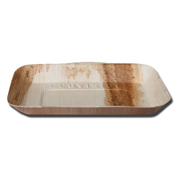 assiette biodegradable rectangulaire en palmier 24 cm