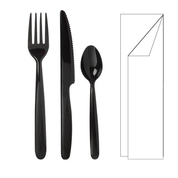 Kit 4/1 Premium Noir couteau + fourchette + petite cuillère+ serviette