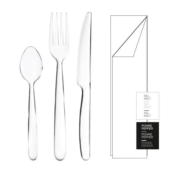 Kit 6/1 Premium cristal couteau  fourchette cuillère serviette sel poivre
