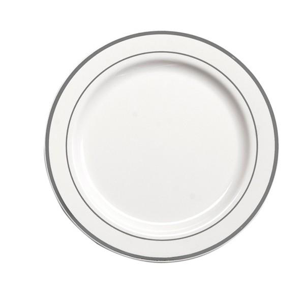 Assiette Ronde Liseré Argent 19 cm par 20