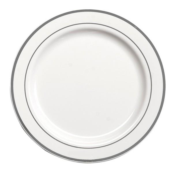 Assiette Ronde Liseré Argent 23 cm par 20