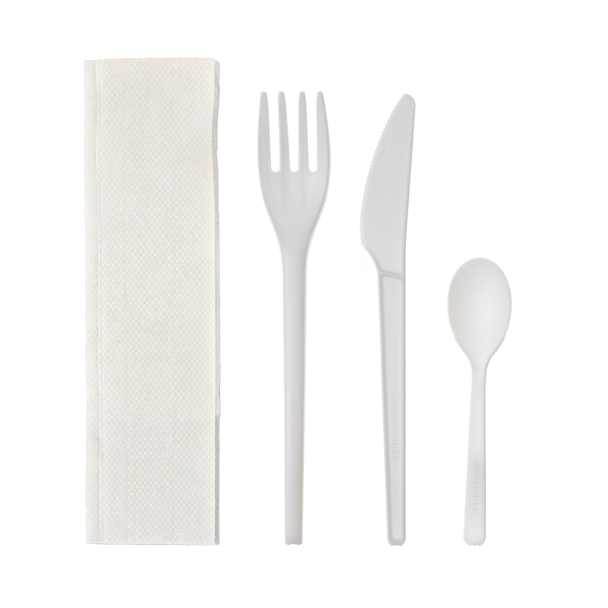 Kit couvert CPLA couteau, fourchette, cuillère à dessert blancs