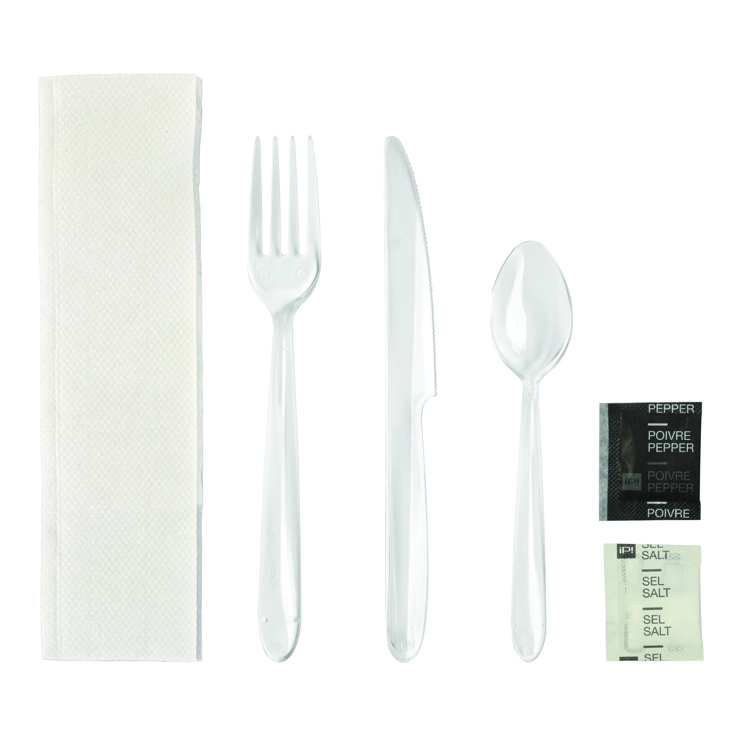 kit de couverts jetables plastique transparent 6 en 1