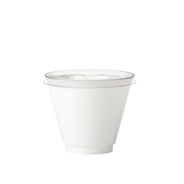 Chupito blanc jetable avec couvercle