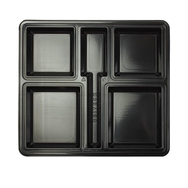 plateau repas jetable noir avec compartiments