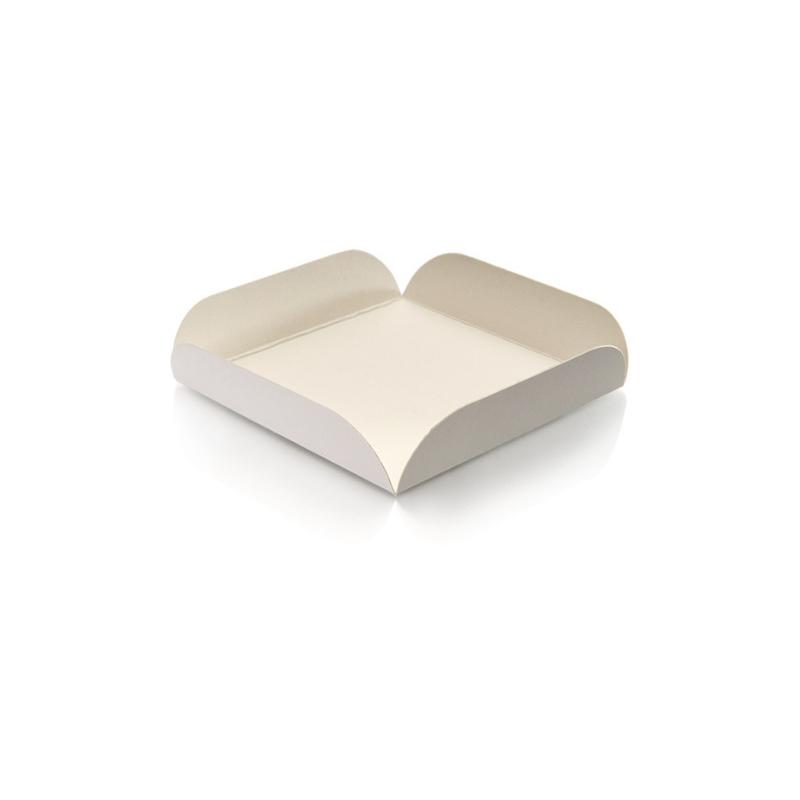 carré rainé blanc support patisserie carton