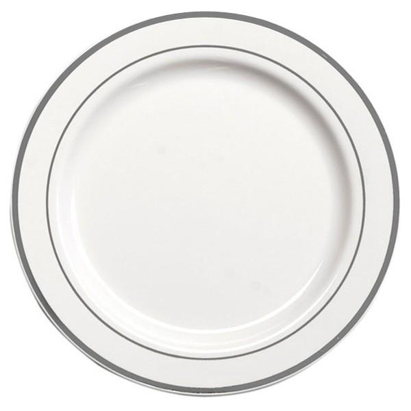 Assiette Ronde Liseré Argent 26 cm