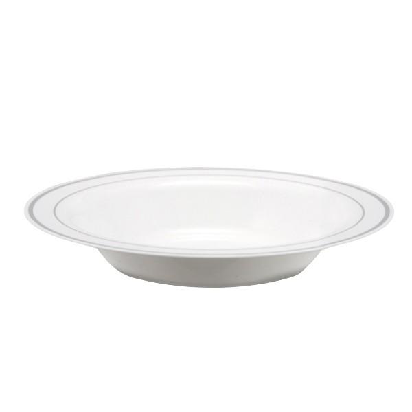 assiette a soupe liseré argent 23 cm