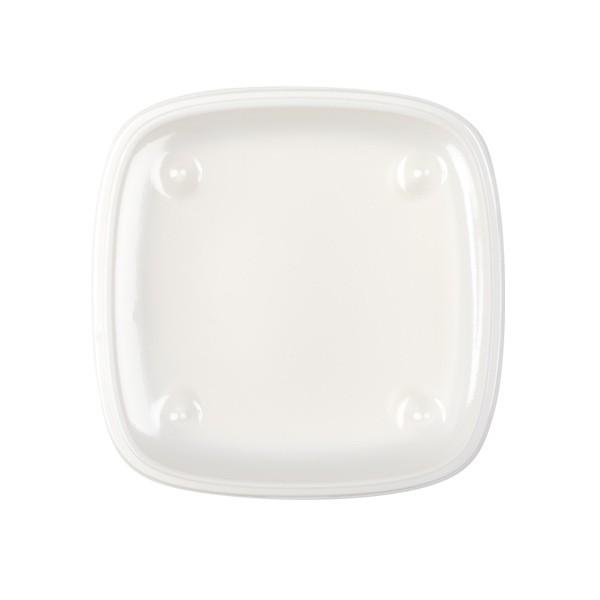 Assiette carrée blanche couvercle UME plateau-repas