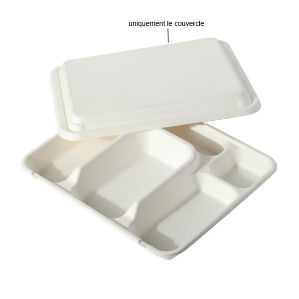 couvercle pour plateau repas compartimenté en canne à sucre