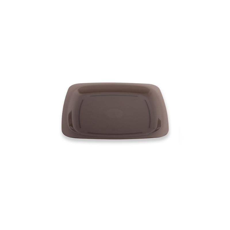 Petite assiette carrée réutilisable gris fumé 18 cm