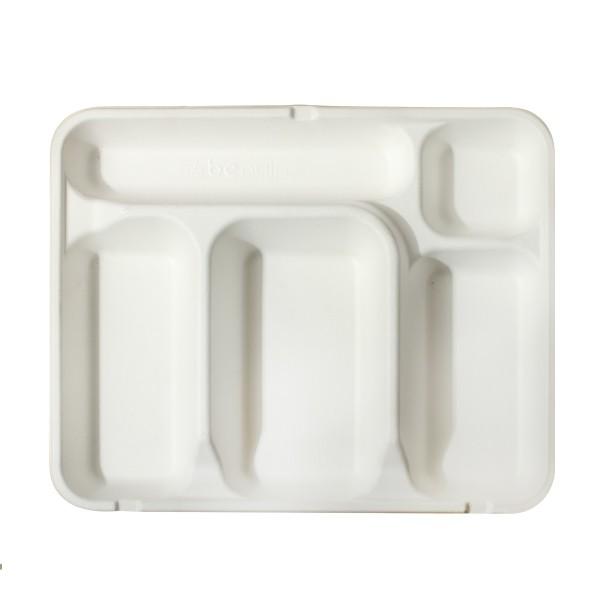 Socle plateau repas en canne à sucre 5 compartiments (couvercle associable vendu séparément)