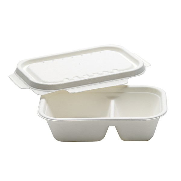 Barquette alimentaire compostable 2 compartiments 100 cl