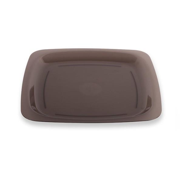 assiette carrée gris fumé 18 cm