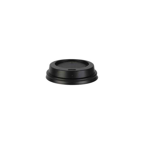 Couvercle Noir avec trou pour gobelet carton 20 et 30 cl