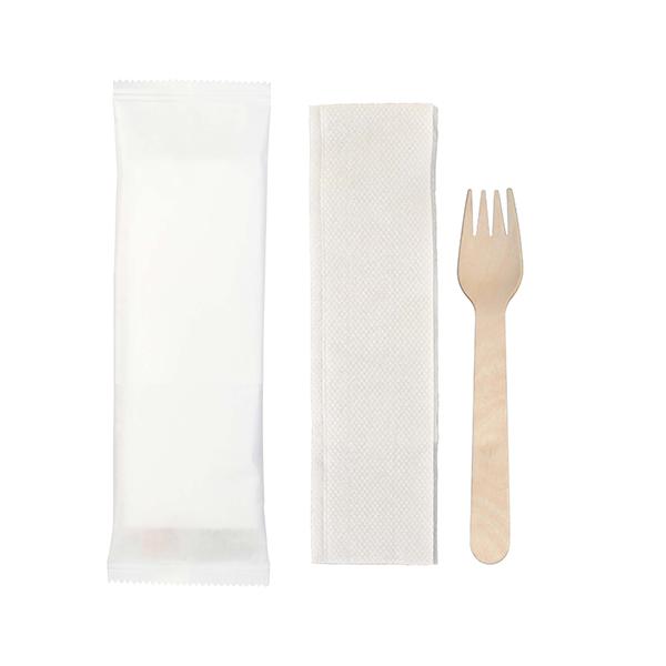 kit couvert bois fourchette serviette
