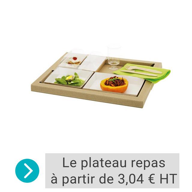 plateau repas carton avec barquettes individuelles