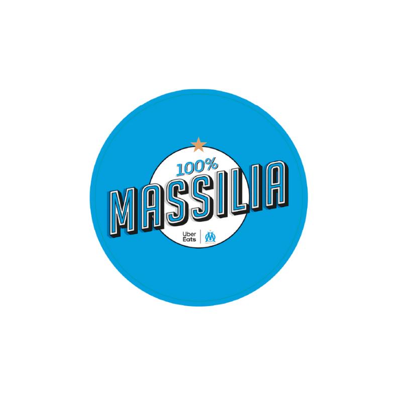 Sticker 100% Massilia, rouleau de 500 pièces