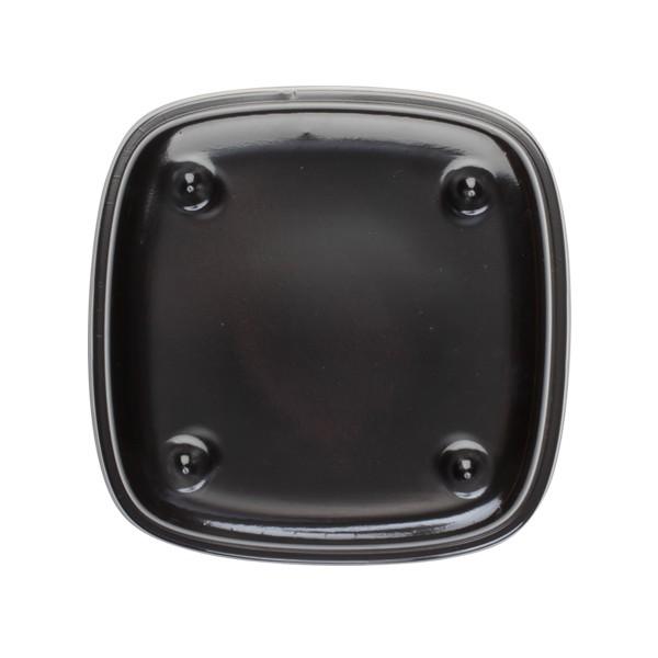 Assiette carrée noire avec couvercle pour plateau repas