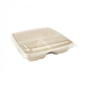 Barquette 3 compartiments compostable