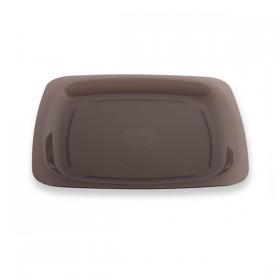 Assiette réutilisable carrée 18 cm gris fumé