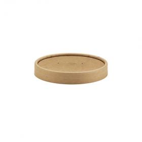 Couvercle kraft brun pour pot alimentaire carton 500 ml