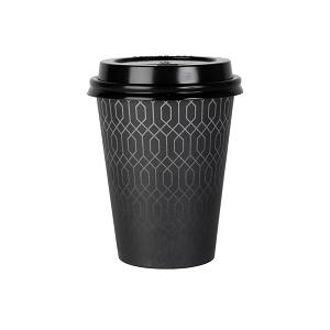 Gobelet carton noir avec motifs
